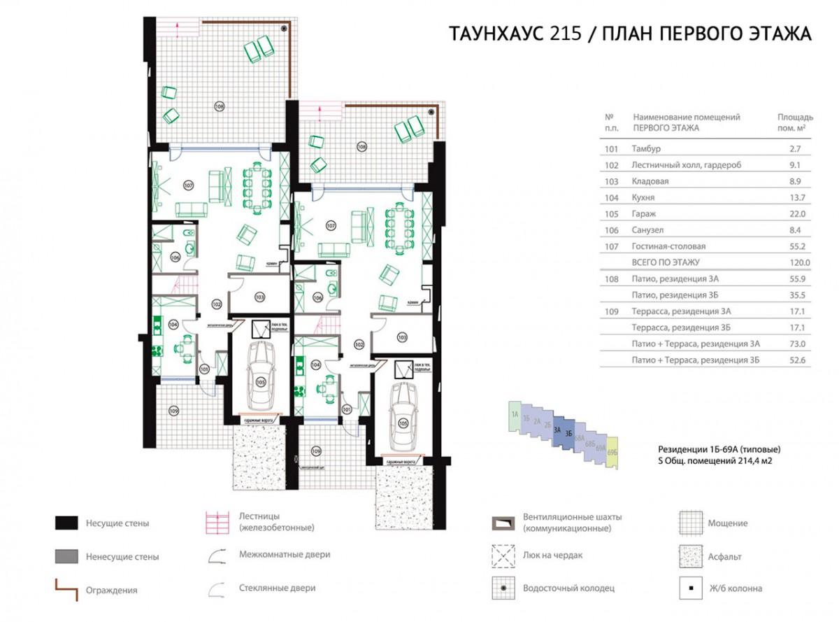 Планировка первого этажа Таунхауса 215