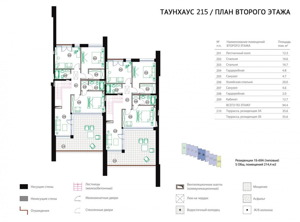 Планировка второго этажа Таунхауса 215
