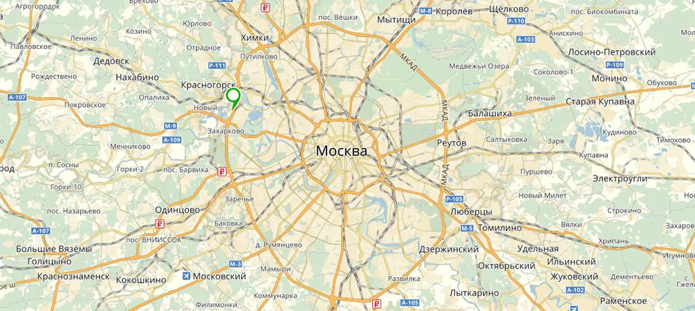 Резиденция Рублево на карте Подмосковья